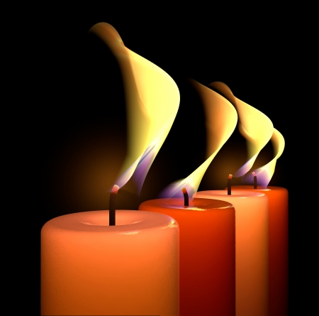 Candle flame light wax wick