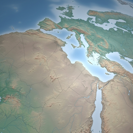 planisphere: Europe Africa and Middle East map and borders
