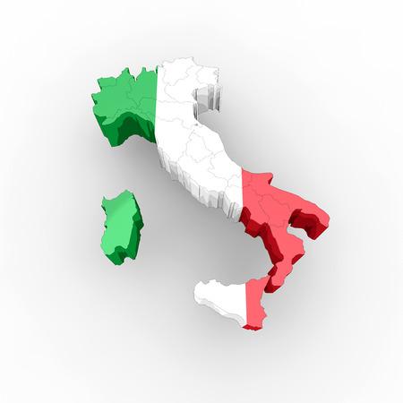 Karte von Italien in Italian Flag Farben 3d Regionen
