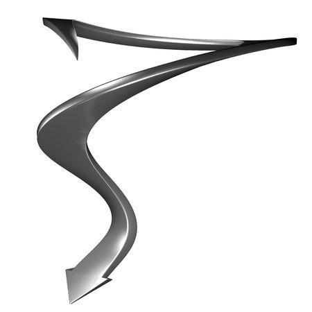 rendite: Metallico 3d freccia cerchio curva verso il basso