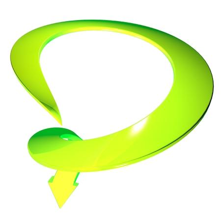 rendite: Freccia verde 3d cerchio curva verso il basso Archivio Fotografico
