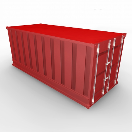 seafreight: Red container  Isolated render on a white background