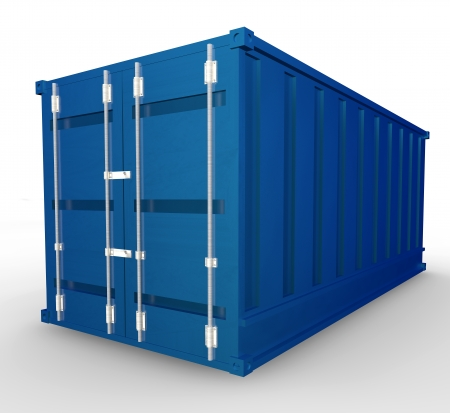 seafreight: Blue container  Isolated render on a white background