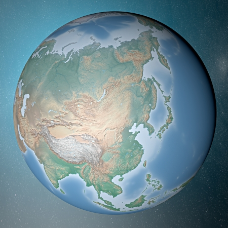 Earth standing on clean space  Asia  photo