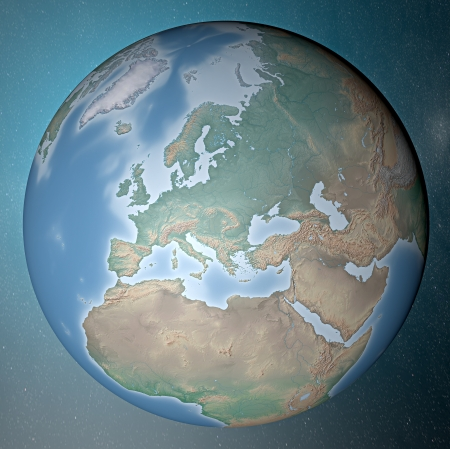 Earth standing on clean space  Europe