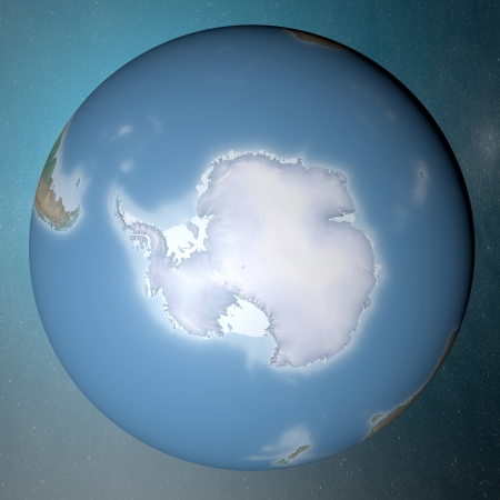 Earth standing on clean space  Antarctica  photo