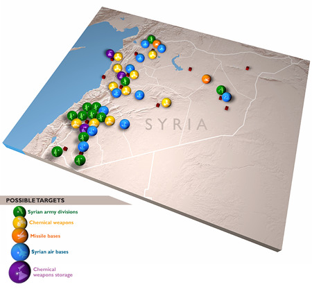 planisphere: Middle East as seen from space  Attack against Syria, possible targets and military movements