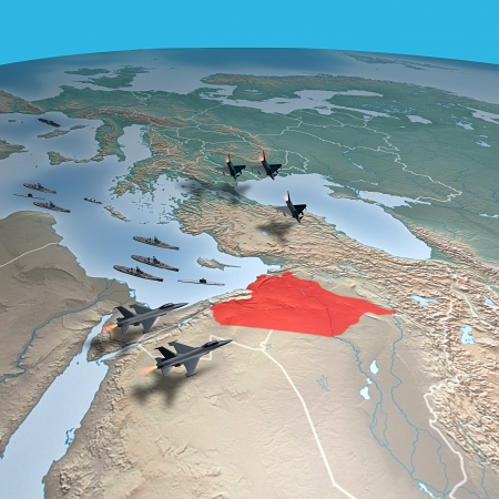 planisphere: Middle East as seen from space  Attack against Syria