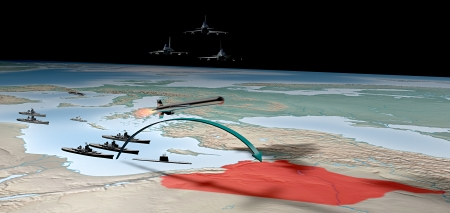 Middle East as seen from space  Attack against Syria photo
