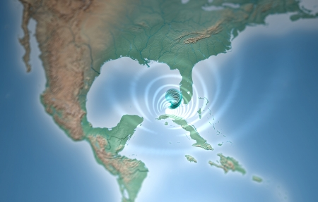 gulf of mexico: Tornado map Florida Gulf of Mexico Stock Photo