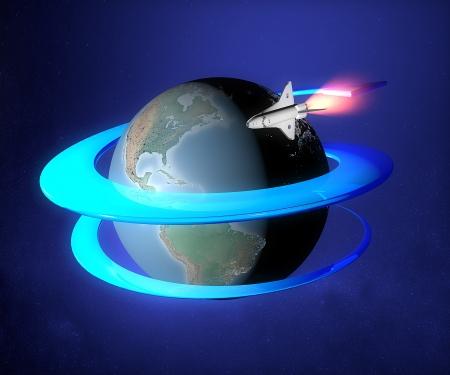 World earth globe sun space orbit spacecraft photo