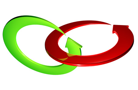 Red and green arrows ring rotating photo