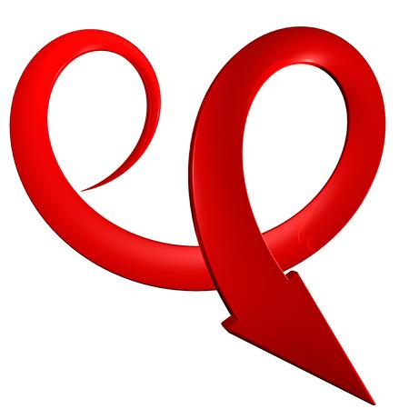 Red spiral arrow 3D photo