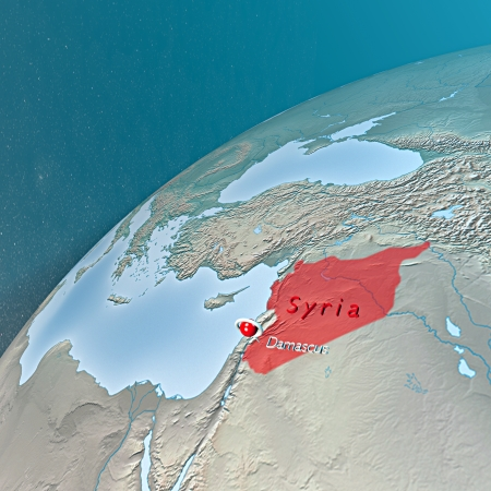 planisphere: Middle East as seen from space  Syria
