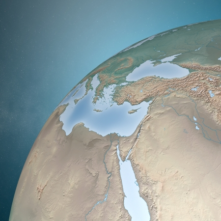 planisphere: Middle East map as seen from space