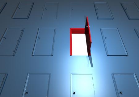 locked door: Doors open wall key success  Open door on a wall of locked doors