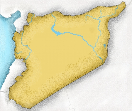 hafez: Hand-drawn map of Syria and neighboring countries