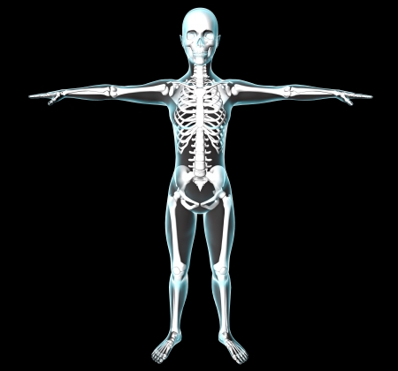 Woman body and skeleton on black background, x-rays view