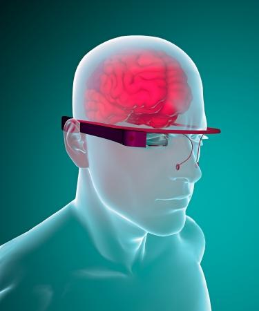 actuality: Bicchieri e cervello vetro Interactive Archivio Fotografico