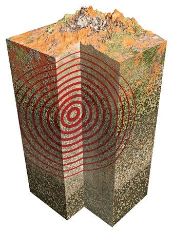 3D Erde Abschnitt auf weißem Hintergrund Lizenzfreie Bilder