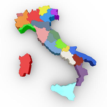 Italien Karte 3d Regionen Lizenzfreie Bilder