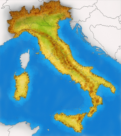 Physical Map of Italy illustration