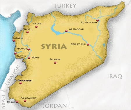 al assad: Hand-drawn map of Syria and neighboring countries