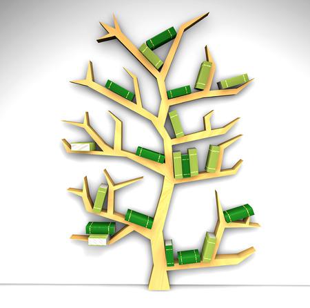 Tree of knowledge Bookshelf on white background