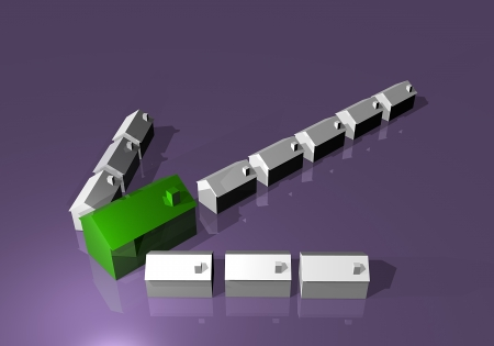 echoes: Houses arrow buy sell market Stock Photo