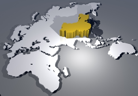 extruded: Map of the world and China highlighted in 3d Stock Photo