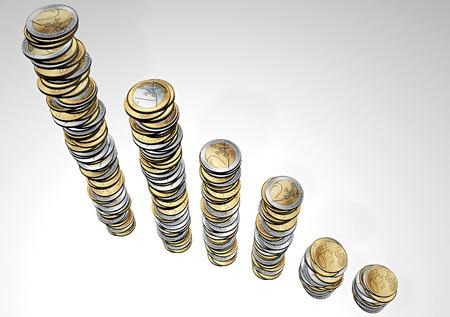 remuneraciones: Las pilas de monedas que forman un histograma Foto de archivo