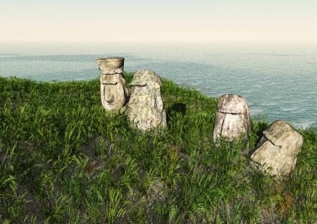 moai: Moai de Isla de Pascua cerca del oc�ano