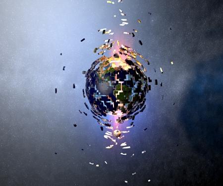 World in robbanás, miután elütötte egy aszteroida katasztrofális hatásai egy aszteroida üti a világ
