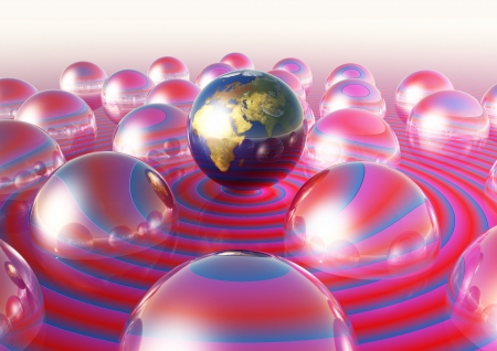 World globes egocentric bubble
