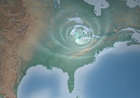 midwest: Tornado Usa map, threatens Mid-West  Satellite view of a tornado that threatens Mid-West, Ohio, Indiana, Illinois