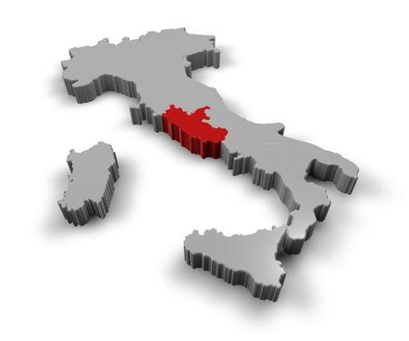 piedmont: 3d Map of Italy Regions Lazio