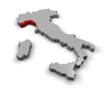 3d Map of Italy Regions Liguria photo