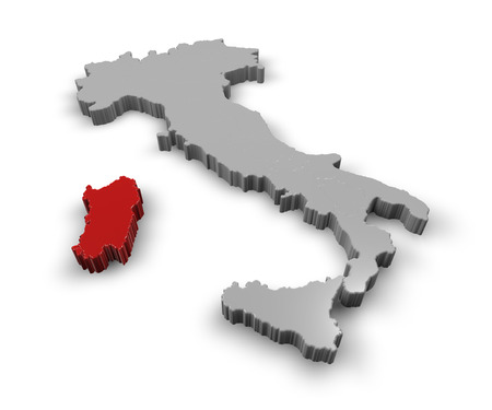 3d Map of Italy Regions Sardinia photo
