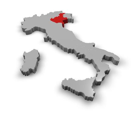 3d Map of Italy Regions Veneto Stock Photo