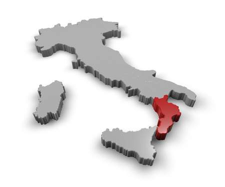 3d Map of Italy Regions Calabria photo