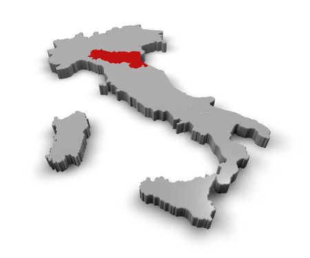 3D-s térkép Olaszország Régiók Emilia Romagna