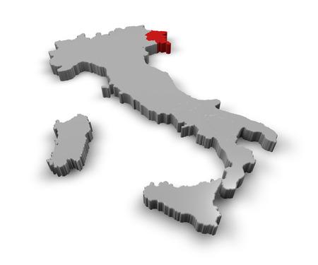 piedmont: 3d Map of Italy Regions Friuli Venezia Giulia