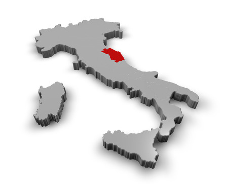 3d Map of Italy Regions Marche photo