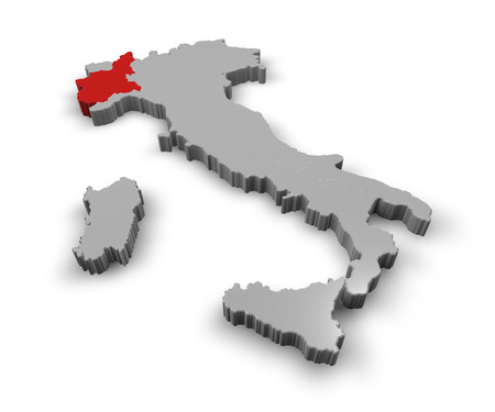 3d Map of Italy Regions Piemonte photo