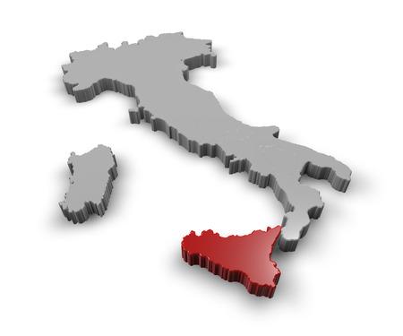 イタリアの地域のシチリア島の 3 d マップ 写真素材