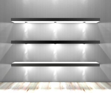 etagere murale: �tag�re, biblioth�que �tag�re murale �clair�e par des projecteurs