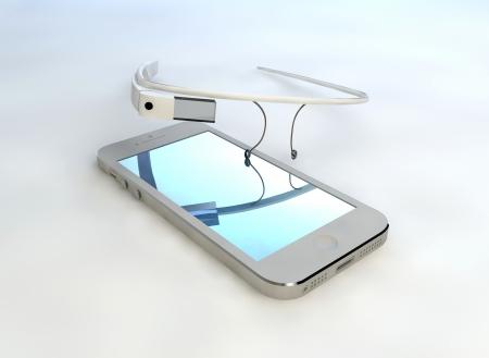 Mobiltelefon érintőképernyős technológia, interaktív szemüveg, kommunikáció Stock fotó