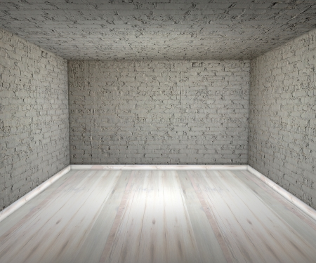 White empty room, brick, walls, floors photo