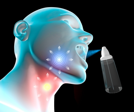 Burning, sore throat, mouth open and throat, spray atomizer photo