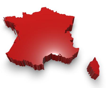 Franciaország térkép 3D illusztráció